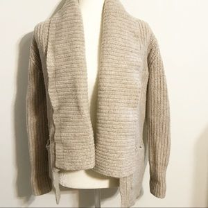 J. Crew Beige Lambs Wool Oversized Open Cardigan